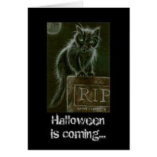 Black Cat Gravestone RIP Halloween is coming... Note Card