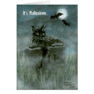 Black Cat Graveyard Bats Moon, It's Halloween... Stationery Note Card