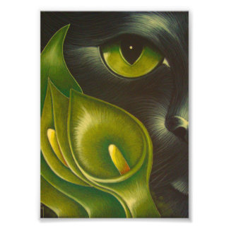 "BLACK CAT GREEN CALLA LILY FLOWERS 5"" X 7"" PRINT"