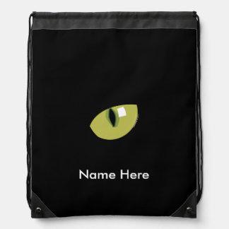 Black Cat Green Eye Drawstring Bag