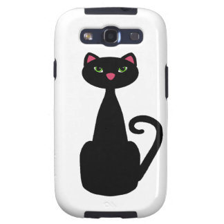 Black cat green eyes galaxy s3 cases