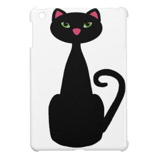 Black cat green eyes iPad mini cover
