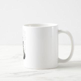 Black Cat Green Eyes Pumpkin Basic White Mug