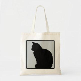 Black Cat Grey Budget Tote Bag