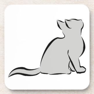 Black cat, grey fill coaster