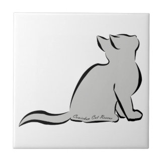 Black cat, grey fill, inside text ceramic tile