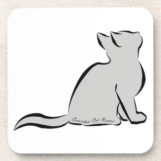 Black cat, grey fill, inside text drink coasters