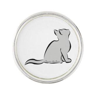 Black cat, grey fill, inside text lapel pin