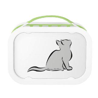 Black cat, grey fill, inside words lunch box