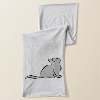 Black cat, grey fill, inside words scarf