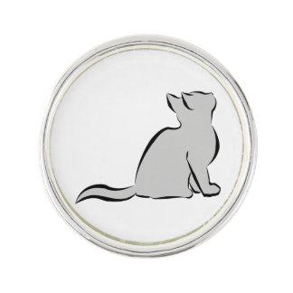 Black cat, grey fill lapel pin