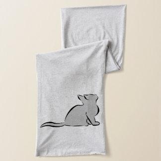 Black cat, grey fill scarf