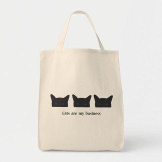 Black cat grocery tote bag