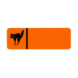 Black Cat Halloween Label- Customizable Background Return Address Label