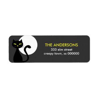 Black Cat Halloween Labels