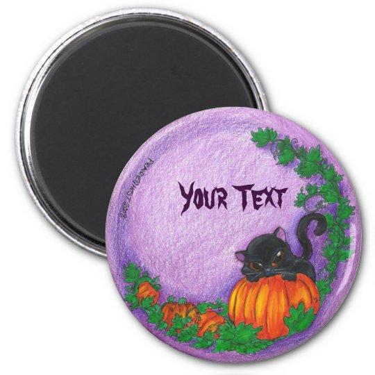 Black Cat Halloween Magnets