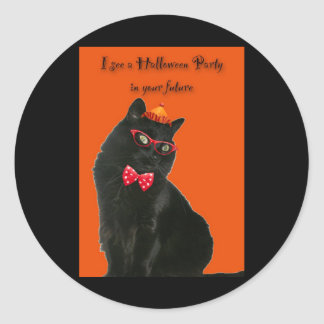 Black Cat Halloween Party Invitation Sticker
