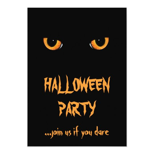Black Cat Halloween Party Invitations
