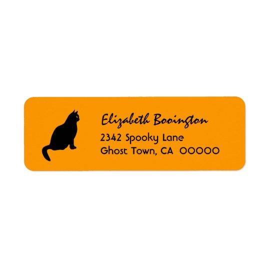 BLACK CAT Halloween Theme H04 Return Address Label