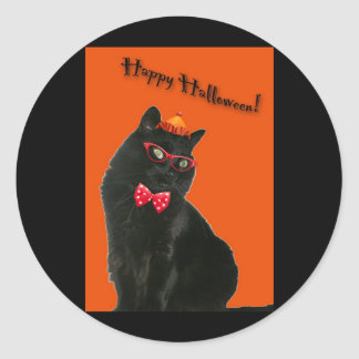 Black Cat Happy Halloween Stickers