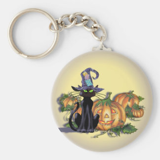 BLACK CAT, HAT, MOON & JACK by SHARON SHARPE Basic Round Button Key Ring