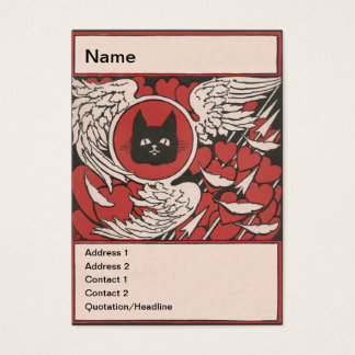 Black Cat, Hearts and Wings Vintage Business Card