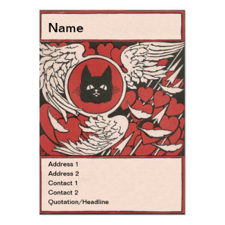 Black Cat, Hearts and Wings Vintage Pack Of Chubby Business Cards