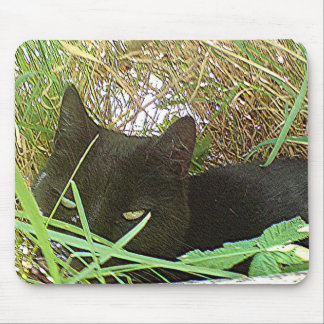Black Cat Hiding in Grass Mouse Pad