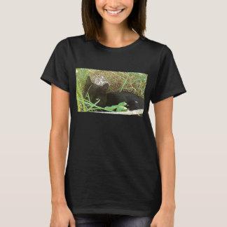 Black Cat Hiding in Grass T-Shirt
