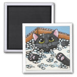 Black Cat in a Box of Packing Peanuts | Cat Magnet