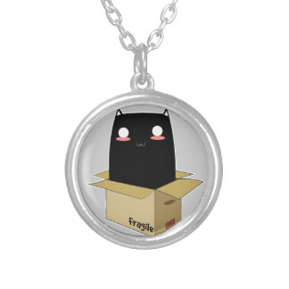 Black Cat in a Box Silver Plated Necklace