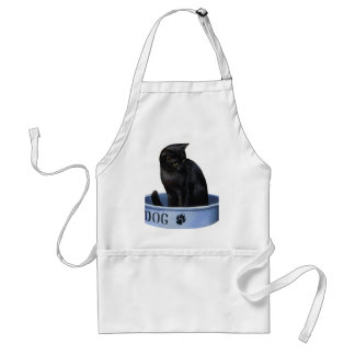Black Cat in a Dog Dish Adult Apron