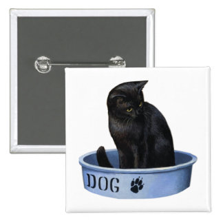 Black Cat in a Dog Dish Button