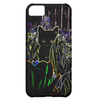 Black Cat in A Neon Garden iPhone 5c case