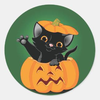 Black Cat In A Pumpkin Stickers