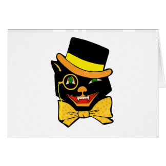 Black Cat in a Top Hat Greeting Card