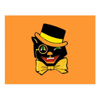 Black Cat in a Top Hat Postcard