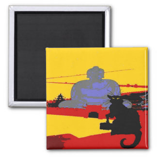 Black Cat In China Refrigerator Magnet