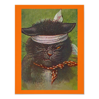 BLACK CAT IN COSTUME HALLOWEEN PARTY INVITATION