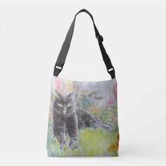 Black Cat in Field of Flowers Crossbody Bag