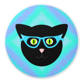 Black Cat in Glasses on Tie-Dye Ceramic Knob