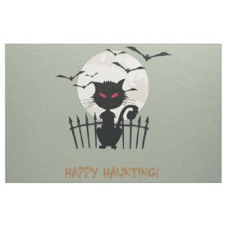 Black cat in Halloween night Fabric