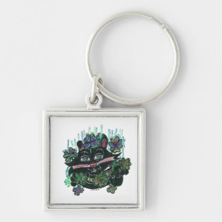 Black Cat in Misty Clover Key Chains