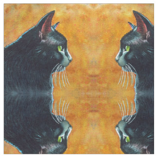 Black Cat in Profile Fabric by Rachel M Brown