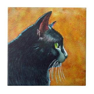 Black Cat in Profile, Tickles Ceramic Tile