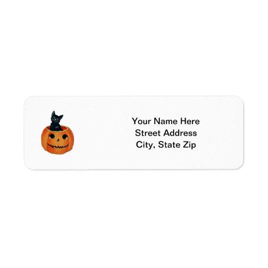 Black Cat in Pumpkin Return Address Label