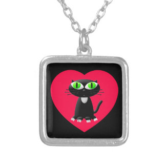 Black Cat In Red Heart Silver Plated Necklace