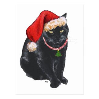 Black Cat in Santa Hat Postcard