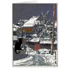 Black Cat in Snow Japanese Print Card