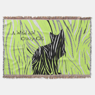 Black Cat in the Crazy Grass Throw Blanket